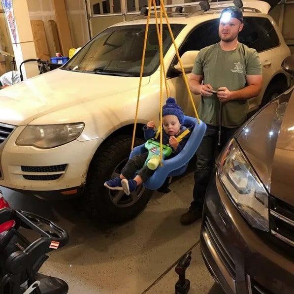 Mechanic with Baby